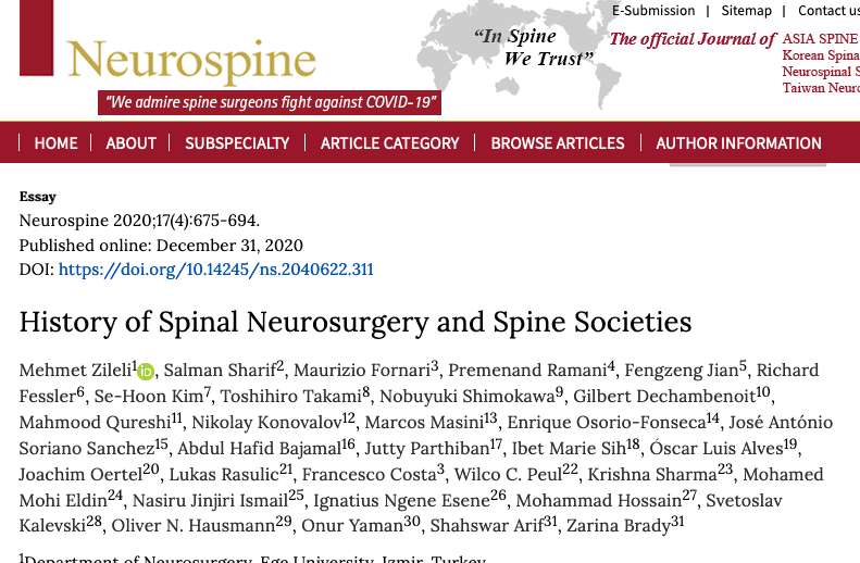 History of Spinal Neurosurgery and Spine Societies