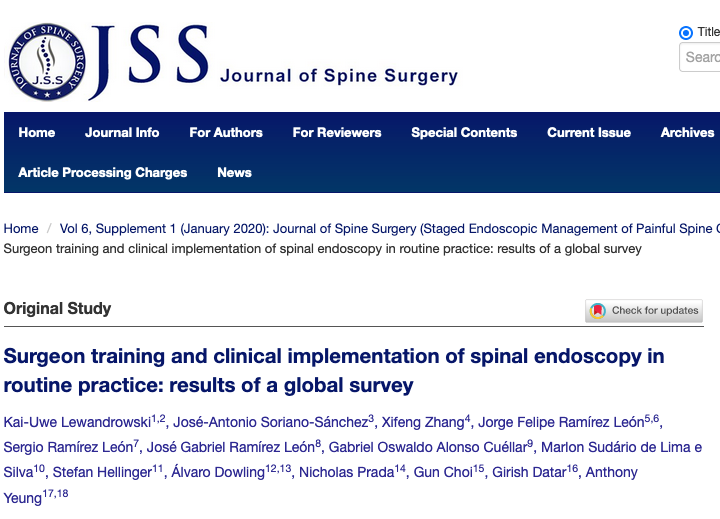 Surgeon training and clinical implementation of spinal endoscopy in routine practice: results of a global survey