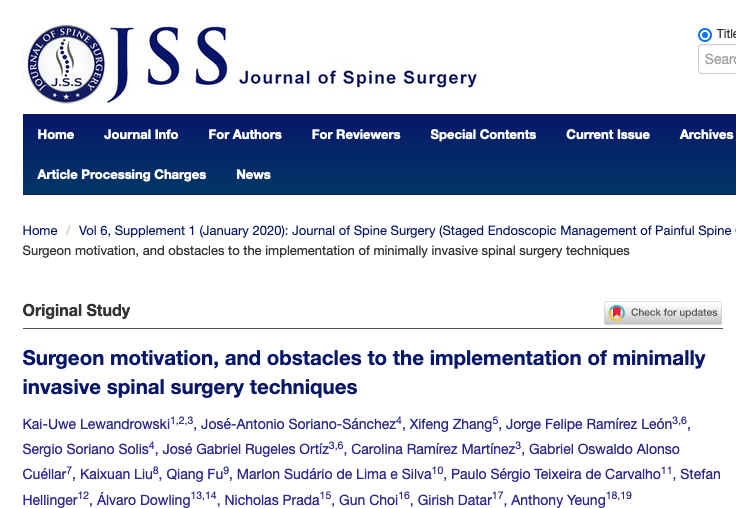 Surgeon motivation, and obstacles to the implementation of minimally invasive spinal surgery techniques