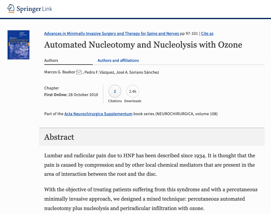 Automated Nucleotomy and Nucleolysis with Ozone