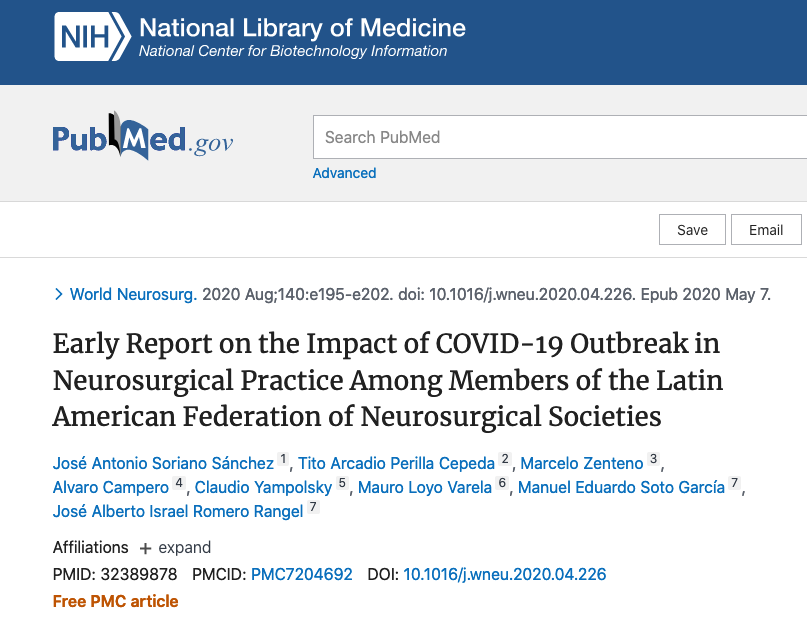 Early Report on the Impact of COVID-19 Outbreak in Neurosurgical Practice Among Members of the Latin American Federation of Neurosurgical Societies