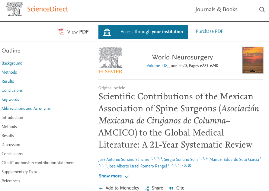 Scientific Contributions of the Mexican Association of Spine Surgeons (Asociación Mexicana de Cirujanos de Columna–AMCICO) to the Global Medical Literature: A 21-Year Systematic Review
