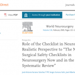 """Role of the Checklist in Neurosurgery, a Realistic Perspective to """"The Need for Surgical Safety Checklists in Neurosurgery Now and in the Future – a Systematic Review"""""""