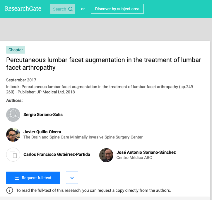 Percutaneous lumbar facet augmentation in the treatment of lumbar facet arthropathy